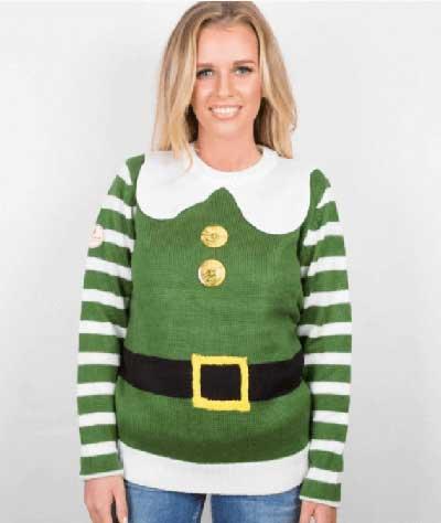 Grøn Elf dame julebluse