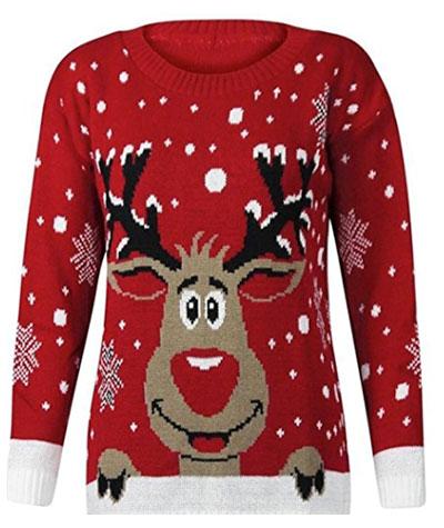 Rød Rudolph julesweater