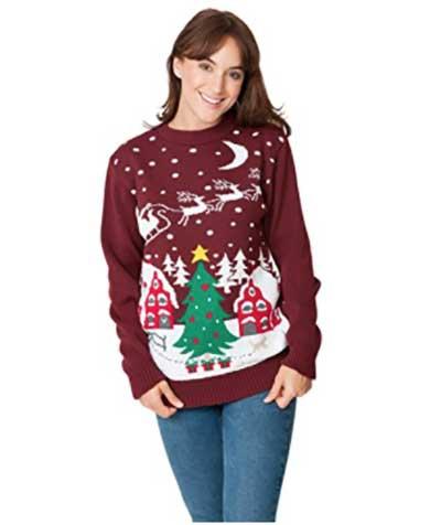 Køb din røde Rudolph julesweater med snefnug på maven her på christmasjumper.dk