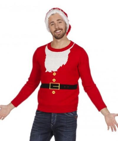 juletrøje med julemandsskæg