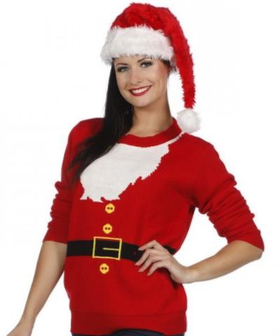 Rød juletrøje med julemandsskæg