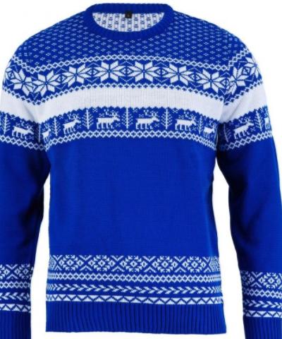 En lækker blå nordic juletrøje