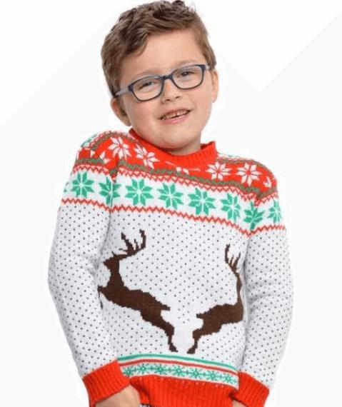 Børne julesweater i hvid