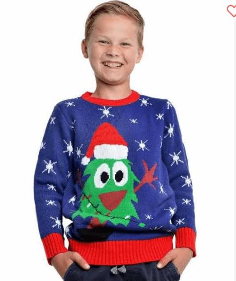 Børne julesweater i blå