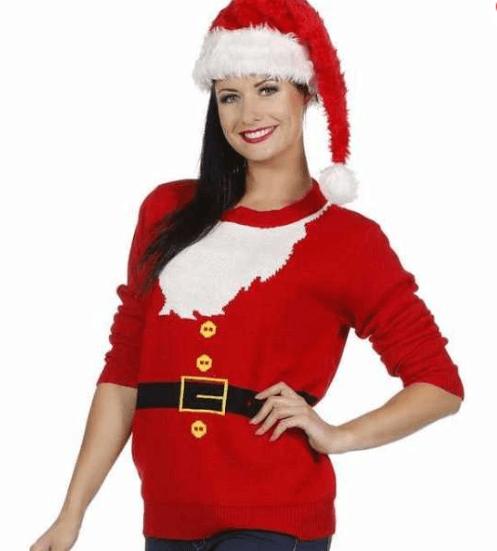 Julesweater med juleskæg til damer