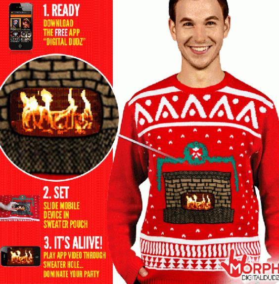 Knitrende ildsted juletrøje